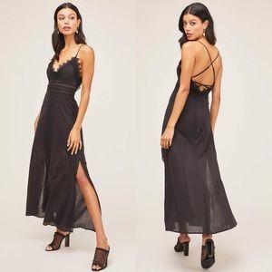 NEW ASTR Black Crochet Lace STEFANIA MAXI DRESS S